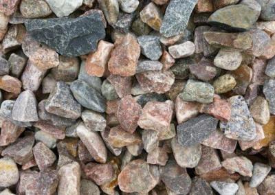 #2 Granite Gravel. #2 shown. Multi-colored Granite gravel. Also available in Tailings (2-6)!